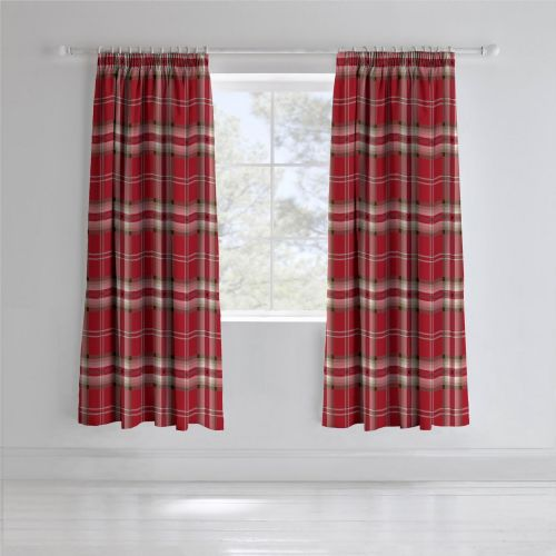 Catherine Lansfield Kelso Red Pencil Pleat Curtains